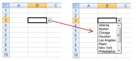 An example of an Excel spreadsheet with a cell containing a drop down list