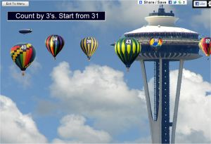 Skip Counting Game By Threes - Space Needle