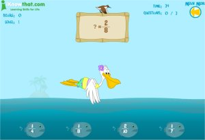 Pelican and Fish Equivalent Fishy Fractions Game