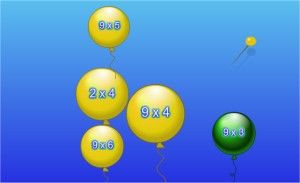 Number Balloons Multiplication Game