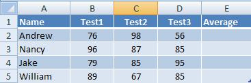 table with students grades for calculating average