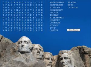Online US Presidents Word Search Puzzle (Free for Kids)