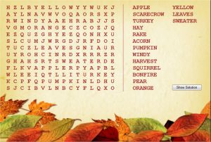 Fall Word Search For Kids, Autumn Word Search Puzzle Online
